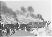 RGS 2-8-0 #42 and rotary plow #2 coming off Bridge 45-A at Ophir.<br /> RGS  Ophir, CO  ca 1930