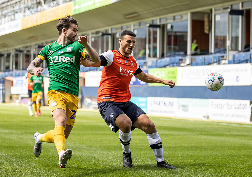 Preston North End's Sean Maguire (left) competing with Luton Town's Matty Pearson <br /> <br /> Photographer Andrew Kearns/CameraSport<br /> <br /> The EFL Sky Bet Championship - Luton Town v Preston North End - Saturday 20th June 2020 - Kenilworth Road - Luton<br /> <br /> World Copyright © 2020 CameraSport. All rights reserved. 43 Linden Ave. Countesthorpe. Leicester. England. LE8 5PG - Tel: +44 (0) 116 277 4147 - admin@camerasport.com - www.camerasport.com