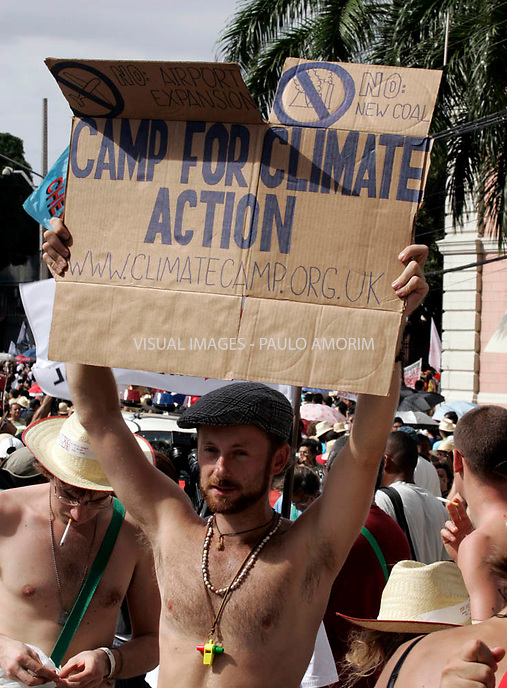 People protest  in Belem, in Para, in the heart of the Brazilian Amazon, on January 27, 2009, on the first day of the World Social Forum, an international gathering meant to be a counterweight to the World Economic Forum in Davos, Switzerland.