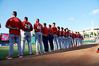 Springfield Cardinals during the national anthem before a Texas League game against the Frisco RoughRiders on May 4, 2019 at Dr Pepper Ballpark in Frisco, Texas.  (Mike Augustin/Four Seam Images)