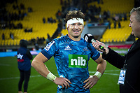 Beauden Barrett talks to Newstalk ZB's Matt Buck after the Super Rugby Aotearoa match between the Hurricanes and Blues at Sky Stadium in Wellington, New Zealand on Saturday, 18 July 2020. Photo: Dave Lintott / lintottphoto.co.nz