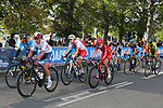 The peloton on the final circuit of Harrogate during the Women Elite Road Race of the UCI World Championships 2019 running 149.4km from Bradford to Harrogate, England. 28th September 2019.<br /> Picture: Seamus Yore | Cyclefile<br /> <br /> All photos usage must carry mandatory copyright credit (© Cyclefile | Seamus Yore)
