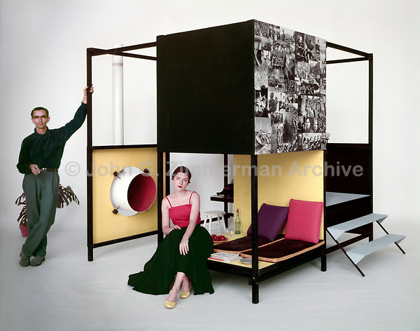 Ken & Jo Isaacs with the Living Cube, 1954, Cranbrook Art Museum, Michigan. Photographer John G. Zimmerman.
