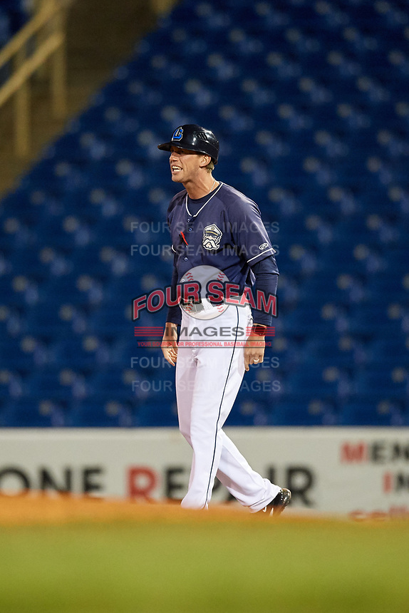 Lake County Captains bench coach Kyle Hudson (4) during the second game of a doubleheader against the South Bend Cubs on May 16, 2018 at Classic Park in Eastlake, Ohio.  Lake County defeated South Bend 5-2.  (Mike Janes/Four Seam Images)