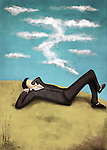 Illustrative image of businessman lying on grass while thinking about money representing aim
