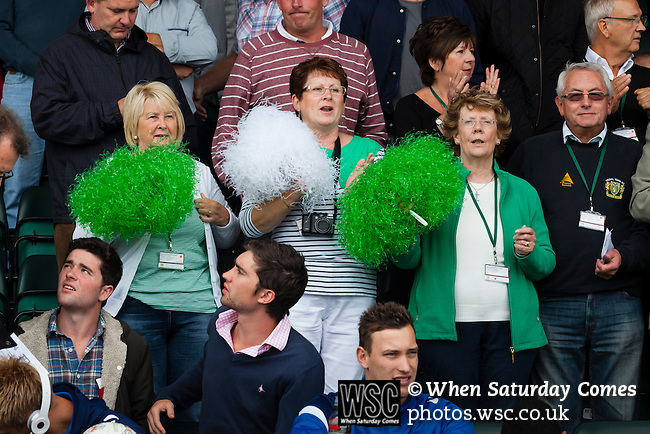 Yeovil Town 0 Queens Park Rangers 1, 21/09/2013. Huish Park, Championship. Middle aged Yeovil fans with green and white pom poms. Photo by Paul Thompson.