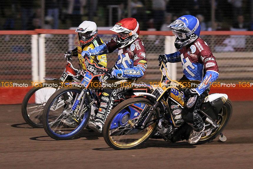 Heat 1 re-run: Davey Watt (red), KIm Nilsson (blue) and Chris Harris - Lakeside Hammers vs Coventry Bees - Sky Sports Elite League Speedway at Arena Essex Raceway, Purfleet - 10/09/12 - MANDATORY CREDIT: Gavin Ellis/TGSPHOTO - Self billing applies where appropriate - 0845 094 6026 - contact@tgsphoto.co.uk - NO UNPAID USE.