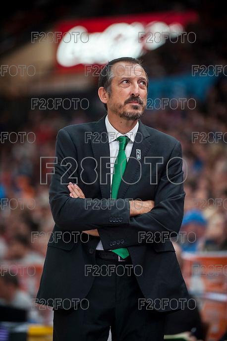 VALENCIA, SPAIN - OCTOBER 18: Salva Maldonado during ENDESA LEAGUE match between Valencia Basket Club and FIATC Joventut at Fonteta Stadium on October 18, 2015 in Valencia, Spain