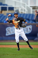 Wilmington Blue Rocks third baseman Wander Franco (11) throws to first base during a game against the Lynchburg Hillcats on June 3, 2016 at Judy Johnson Field at Daniel S. Frawley Stadium in Wilmington, Delaware.  Lynchburg defeated Wilmington 16-11 in ten innings.  (Mike Janes/Four Seam Images)