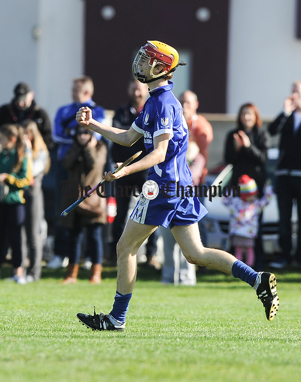 Sean O Loughlin of Kilmaley celebrates a goal against O Callaghan's Mills-Bodyke during their U-16A hurling final at Gurteen. Photograph by John Kelly.