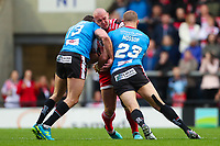 Picture by Alex Whitehead/SWpix.com - 11/05/2018 - Rugby League - Ladbrokes Challenge Cup - Leigh Centurions v Salford Red Devils - Leigh Sports Village, Leigh, England - Leigh's Jamie Acton is tackled by Salford's Lee Mossop and Mark Flanagan.