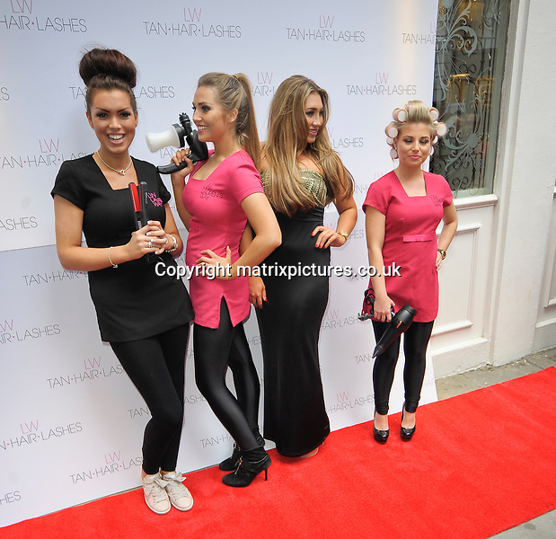 """NON EXCLUSIVE  PICTURE: MATRIXPICTURES.CO.UK.PLEASE CREDIT ALL USES..WORLD RIGHTS..English former TOWIE reality TV star Lauren Goodger is pictured launching her new """"Lauren's Way"""" range of fake tan, eyelashes and hair products in London...MAY 8th 2013..REF: PSE 133063"""