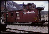 Side view of D&amp;RGW caboose #0540 at Durango.<br /> D&amp;RGW  Durango, CO  6/1975