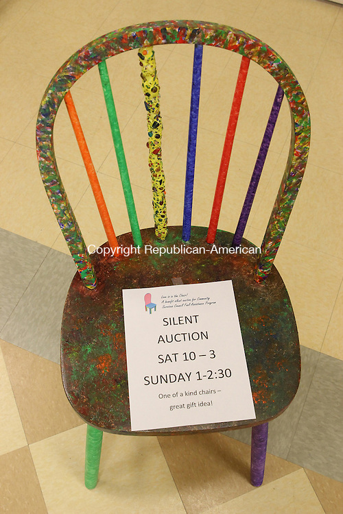 WOODBURY, CT: 03 Dec. 2015: 03122015CB01: WOODBURY -- Donated and decorated chairs will be up for sale during a silent auction this week at Woodbury's Senior Community Center. Proceeds go to a community fuel assistance fund. Bids may be placed on Saturday from 10 a.m. until 3 p.m. and on Sunday from 1:30 to 2 p.m. Caleb Bedillion Republican-American