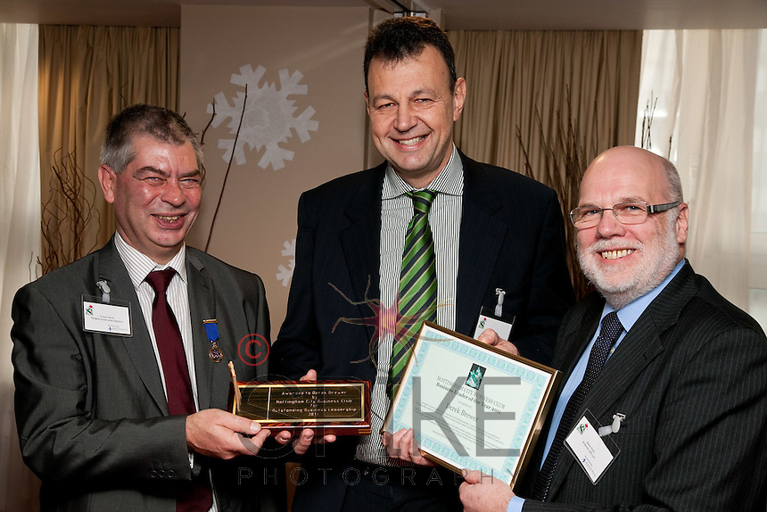 Award Winner - Derek Brewer of Nottinghamshire County Cricket Club receives awards for Outstanding Business Leadership from Trevor Harris (left) immediate Past President and Steve Potts, Vice President of Nottingham City Business Club (right)