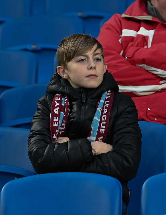 Burnley fan<br /> <br /> Photographer David Horton/CameraSport<br /> <br /> The Premier League - Brighton and Hove Albion v Burnley - Saturday 9th February 2019 - The Amex Stadium - Brighton<br /> <br /> World Copyright &copy; 2019 CameraSport. All rights reserved. 43 Linden Ave. Countesthorpe. Leicester. England. LE8 5PG - Tel: +44 (0) 116 277 4147 - admin@camerasport.com - www.camerasport.com