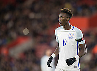Tammy Abraham (Bristol City (on loan from Chelsea) of England during the Under 21 International Friendly match between England and Italy at St Mary's Stadium, Southampton, England on 10 November 2016. Photo by Andy Rowland.