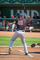 Brantley Bell (49) of the Billings Mustangs at bat against the Ogden Raptors in Pioneer League action at Lindquist Field on August 16, 2015 in Ogden, Utah. Billings defeated Ogden 6-3.  (Stephen Smith/Four Seam Images)