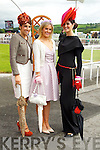 Susan Moriarty, Kate Ferguson and Emer Nash finalists in the best dressed lady competition pictured at Listowel races on Sunday.