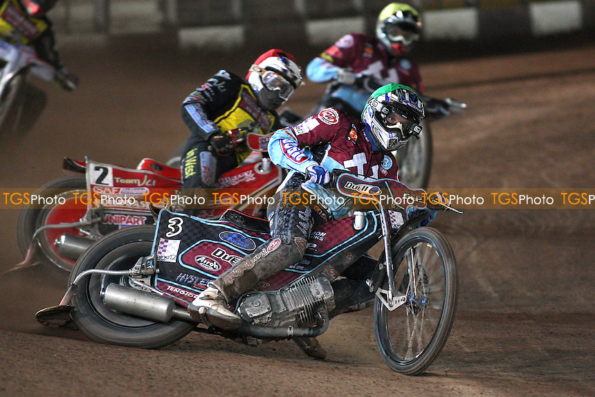 Heat 8: Nieminen (green) ahead of Barker and Robson - Coventry Bees vs Lakeside Hammers - Elite League Speedway Knockout Cup Final 2nd Leg at Brandon Stadium - 23/10/09 - MANDATORY CREDIT: Gavin Ellis/TGSPHOTO - Self billing applies where appropriate - Tel: 0845 094 6026
