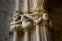 Detail of elaborately carved capitals in the cloister of Santes Creus, Aiguamurcia, Catalonia, Spain, pictured on May 21, 2006, in the morning. These beautifully carved capitals depict a bagpipe player sitting and a knight in armour with a sword. The Cistercian Reial Monestir Santa Maria de Santes Creus and its church were built between 1174 and 1225. Following strict Cistercian rule, the Romanesque complex originally featured no architectural embellishments with the exception of ornamented capitals and crenellations on the rooflines. In the 13th century the cloister was converted in Gothic style by James II of Aragon. Picture by Manuel Cohen.