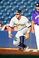 Trenton Thunder first baseman Kyle Roller #40 during a game against the Akron Aeros on April 22, 2013 at Canal Park in Akron, Ohio.  Trenton defeated Akron 13-8.  (Mike Janes/Four Seam Images)