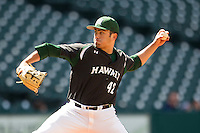 Hawaii Rainbow Warriors pitcher Matt Valencia (42) delivers a pitch to the plate during Houston College Classic against the Baylor Bears on March 6, 2015 at Minute Maid Park in Houston, Texas. Hawaii defeated Baylor 2-1. (Andrew Woolley/Four Seam Images)