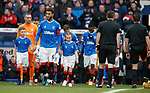 01.02.2020 Rangers v Aberdeen: Connor Goldson leads out the Rangers team