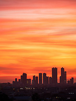 Manila, Philippines Sunset and like a painted sky over the skyline of Manila, Philippines