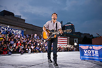 Singer Bruce Springsteen performs at a campaign rally for U.S. Democratic presidential nominee Senator Barack Obama  in Cleveland, Ohio...Photo by Brooks Kraft/Corbis.....................