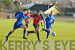 St Brendan's Park Anthony Murphy and Cherry Orchard's John Coughain chase hard for the ball in the FAI junior cup at Christy Leahy park, Tralee on Sunday.