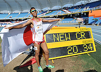 CALI - COLOMBIA - 19-07-2015: Abdul Hakim Sani Brown de Japon, Medalla de oro en la prueba de los 200 metros en el estadio Pascual Guerrero sede, sede IAAF Campeonatos Mundiales de la Juventud Cali 2015.   / Abdul Hakim Sani Brown of Japan, gold medal in the test of the 200 meters, in the Pascual Guerrero home of the IAAF World Youth Championships Cali 2015. Photos: VizzorImage / Luis Ramirez / Staff.