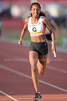 International athletics at Cardiff International stadium, Cardiff, South Wales - Tuesday 15th July 2014<br /> <br /> The U15 Girl's 4x100m relay final won by Cwmbran Harriers 'A'<br /> <br /> <br /> Photo by Jeff Thomas Photography