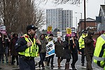 © Joel Goodman - 07973 332324 . 20/01/2018. Doncaster, UK. Anti-fascist protesters march through Hexthorpe . Far-right street protest movement , the English Defence League ( EDL ) , hold a demonstration , opposed by anti-fascists , including Unite Against Fascism ( UAF ) in the Hexthorpe area of Doncaster . EDL supporters chanted anti-Roma slogans as they marched through the town . Photo credit : Joel Goodman