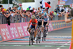 Domenico Pozzovivo (ITA) Bahrain-Merida, Tom Dumoulin (NED) Team Sunweb and Chris Froome (GBR) Team Sky cross the finish line at the end of Stage 18 of the 2018 Giro d'Italia, running 196km from Abbiategrasso to Prato Nevoso, Italy. 24th May 2018.<br /> Picture: LaPresse/Marco Alpozzi | Cyclefile<br /> <br /> <br /> All photos usage must carry mandatory copyright credit (&copy; Cyclefile | LaPresse/Marco Alpozzi)