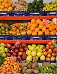 Variety of fruit and vegetables, Santa Cruz market,Tenerife, Canary Islands.