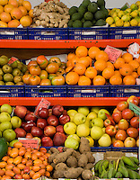 Variety of fruit and vegetables, Santa Cruz market,Tenerife, Canary Islands.