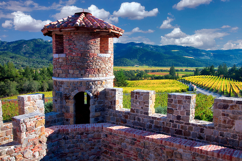 Castle turret at Castello di Amorosa. Napa Valley, California. Property relased
