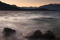 Sunset on shores of Lake Manapouri, Fiordland National Park, Southland, UNESCO World Heritage Area, New Zealand, NZ