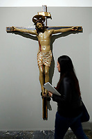 Artworks stolen during the earthquake of 2016, crucifix by Giovanni Antonio di Giordano da Norcia, 1490-1510, stolen from Norcia<br /> Rome May 3rd 2019. Quirinale Palace. Preview of the exhibition 'The art of rescuing art' , a collection of antique artworks, paintings, statues, jewelry and terracotta artefacts rescued from the command of Carabinieri for the protection of the cultural heritage in 50 years.  Many of these artworks were stolen on commission for private collections.<br /> Photo di Samantha Zucchi/Insidefoto