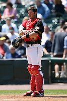 May 13, 2009:  Catcher Drew Butera of the Rochester Red Wings, International League Class-AAA affiliate of the Minnesota Twins, in the field during a game at Frontier Field in Rochester, FL.  Photo by:  Mike Janes/Four Seam Images