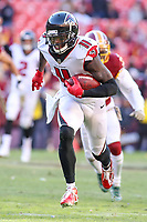 Landover, MD - November 4, 2018: Atlanta Falcons wide receiver Julio Jones (11) runs after catching a pass during the  game between Atlanta Falcons and Washington Redskins at FedEx Field in Landover, MD.   (Photo by Elliott Brown/Media Images International)