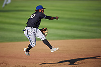 Missoula Osprey shortstop Jose Reyes (20) throws to first base during a Pioneer League game against the Great Falls Voyagers at Centene Stadium at Legion Park on August 19, 2019 in Great Falls, Montana. Missoula defeated Great Falls 4-1 in the first game of a doubleheader. Games were moved from Missoula after Ogren Park at Allegiance Field, the Osprey's home field, was ruled unplayable. (Zachary Lucy/Four Seam Images)