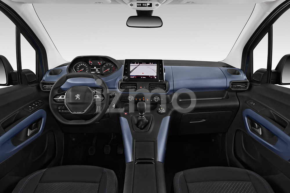 Stock photo of straight dashboard view of 2019 Peugeot Rifter Allure Door Mini Mpv Dashboard