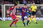 Lionel Andres Messi of FC Barcelona battles for the ball with Stefan Savic of Atletico de Madrid during their Copa del Rey 2016-17 Semi-final match between FC Barcelona and Atletico de Madrid at the Camp Nou on 07 February 2017 in Barcelona, Spain. Photo by Diego Gonzalez Souto / Power Sport Images