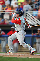 Lowell Spinners first baseman Cisco Tellez (48) at bat during a game against the Batavia Muckdogs on July 18, 2014 at Dwyer Stadium in Batavia, New York.  Lowell defeated Batavia 11-2.  (Mike Janes/Four Seam Images)