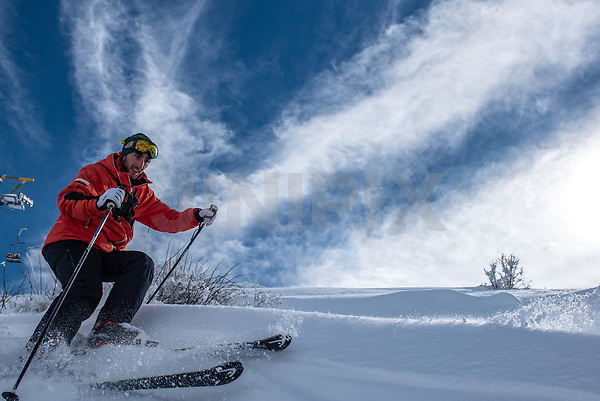 Member of an Israeli ski patrol check the Mount Hermon ski resort, in the Israeli-occupied Golan Heights, on January 10, 2019. Photo by: Ayal Margolin-JINIPIX