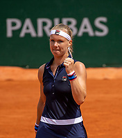 Paris, France, 27 May, 2019, Tennis, French Open, Roland Garros, Kiki Bertens (NED) celebrates her win over Parmentier (FRA)<br /> Photo: Henk Koster/tennisimages.com