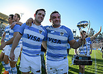 06/09/2018. Malvinas Argentinas Stadium, Mendoza, Argentina. The Rugby Championship 2018, Round 2, Los Pumas beat the Spingboks at home 32 to 19. Nicolas Sanchez and Agustin Creevy celebrating with supporters after the match. /Maximiliano Aceiton/Trysportimages