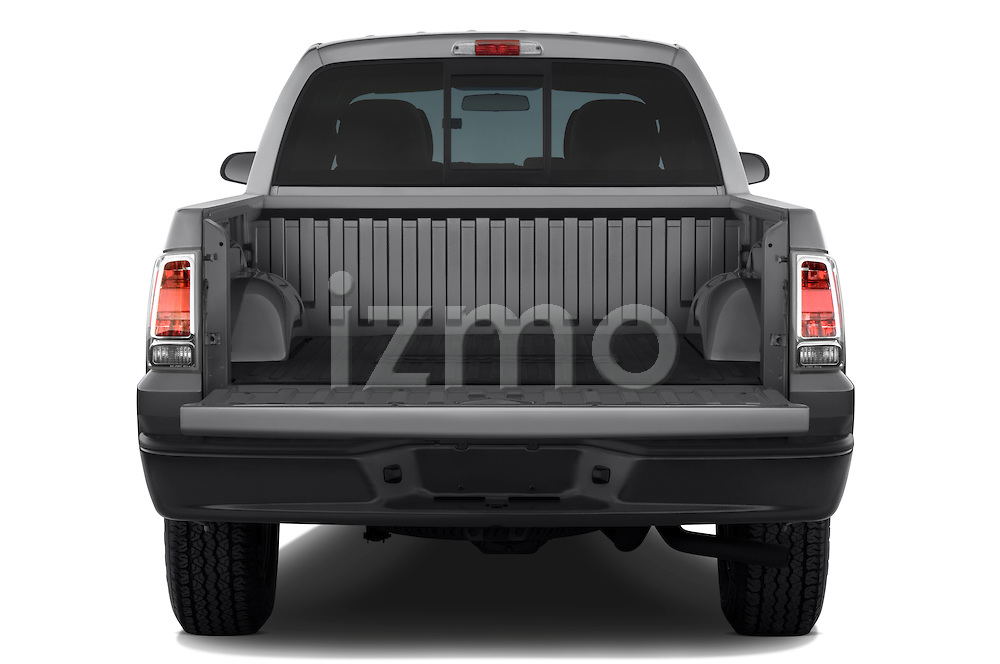 Straight rear view of a 2008 Mitsubishi Raider pickup truck